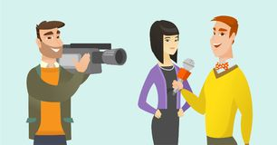TV interview vector cartoon illustration. Young caucasian white reporter with a microphone making an interview with asian business woman. Operator filming an Stock Photo
