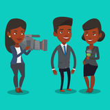 TV interview vector illustration. African-american professional reporter with microphone interviews a man. Female operator filming interview. Journalist making Royalty Free Stock Photo