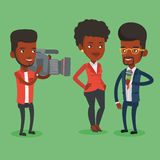 TV interview vector illustration. African-american professional reporter with microphone interviews a woman. Operator filming interview. Journalist making Stock Photo