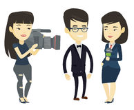 TV interview vector illustration. Asian reporter with microphone interviews a business man. Young operator filming interview. Journalist making interview with Stock Photography