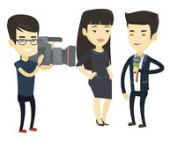 TV interview vector illustration. Asian reporter with microphone interviews a business woman. Operator filming interview. Journalist making an interview with Stock Photography
