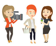 TV interview vector illustration. Caucasian reporter with microphone interviews a woman. Female operator filming interview. Journalist making interview with Royalty Free Stock Images