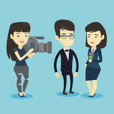 TV interview vector illustration. Professional asian reporter with microphone interviews a business man. Young operator filming interview. Journalist making Royalty Free Stock Photos