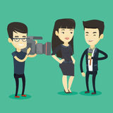 TV interview vector illustration. Professional asian reporter with microphone interviews a business woman. Operator filming interview. Journalist making an Stock Photos