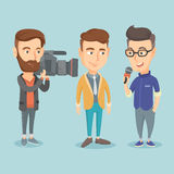 TV interview vector illustration. Professional caucasian reporter with microphone interviews a businessman. Operator filming an interview. Journalist making Stock Photo
