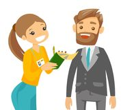 TV interview vector illustration. Professional caucasian reporter with microphone interviews a man. Female operator filming interview. Journalist making Royalty Free Stock Photo
