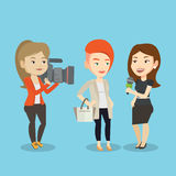 TV interview vector illustration. Professional caucasian reporter with microphone interviews a man. Female operator filming interview. Journalist making Stock Photos