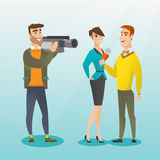 TV interview vector illustration. Professional caucasian reporter with a microphone presenting news. Operator filming an interview. Journalist making an Royalty Free Stock Photos