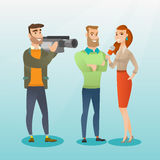 TV interview vector illustration. Professional caucasian reporter with a microphone presenting news. Operator filming an interview. Journalist making an Stock Images