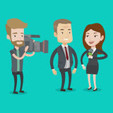 TV interview vector illustration. Professional female reporter with microphone presenting the news. Hipster operator filming interview. Journalist making Royalty Free Stock Photo