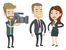 TV interview vector illustration. Professional reporter with microphone interviews a man. Hipster operator filming interview. Journalist making interview with Stock Image