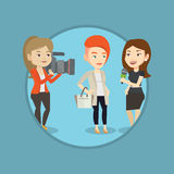 TV interview vector illustration. Stock Photos