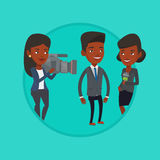 TV interview vector illustration. Reporter with microphone interviews a woman. Female operator filming interview. Journalist making interview with business man Royalty Free Stock Image