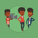 TV interview vector illustration. Reporter with microphone interviews a woman. Young operator filming interview. Journalist making interview with businesswoman Stock Photography