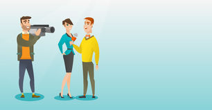 TV interview vector illustration. Young caucasian reporter with a microphone presenting news. Operator filming an interview. Journalist making an interview with Stock Photo