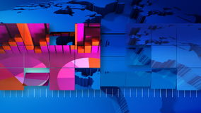 TV intro. For the news. The stylized globe and continents, 3D graphics and animation for television broadcast stock footage