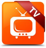 TV orange square button red ribbon in corner. TV isolated on orange square button with red ribbon in corner abstract illustration Royalty Free Stock Photo