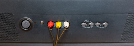 TV jack plugged. TV jack plugged in 3 hole Stock Images