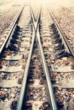 Två järnväg eller järnvägspår för drevtrans. (tappningstil) Royaltyfri Bild
