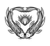 Tv? karpar i formen av en hj?rta, symbol av harmoni Isolerad vektorillustration Andlig konst f?r tatuering stock illustrationer