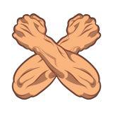 Två korsade händer som gripas hårt om in i en svartvit humorbokillustration för näve Idrottshallsymbol Arkivbild
