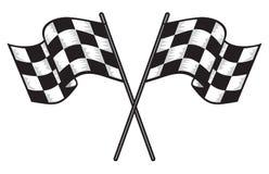 två korsade rutiga flaggor Arkivbild