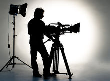 TV la cámara en estudio. Imagenes de archivo