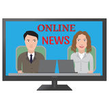 TV latest news. Two reporters are the news media vector illustration vector illustration