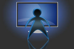 TV LCD flat screen (03). Spectator in front of a TV LCD or Plasma Stock Image