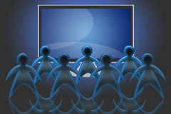 TV LCD flat screen (04). Group of spectators in front of a TV LCD or Plasma Royalty Free Stock Photography