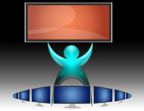 TV LCD flat screen (07). Man among the LCD TV that shows the greatest Royalty Free Stock Photos