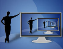 TV LCD flat screen (09). Man resting on the left side of a large LCD TV Royalty Free Stock Image