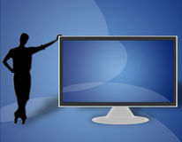 TV LCD flat screen (09). Man resting on the left side of a large LCD TV Royalty Free Stock Photography