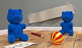 Två lilla blåttbjörnar Arkivbilder