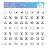 TV Line Icons Set. Set of 56 TV line icons suitable for web, infographics and apps. Isolated on white background. Clipping paths included royalty free illustration