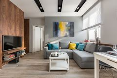 Living room with big sofa. Tv living room with wooden wall and big, gray sofa stock images