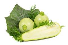 Två ljus - grön rund zucchini och ett ljus - grön zucchini med det gröna bladet och persilja som isoleras på vit Royaltyfri Foto