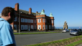 TV Location - Yorkshire - England. TV location - Building used in the filming of 'The Royal' - a British television hospital drama.  The Esplanade in Scarborough stock video footage