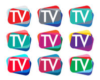 TV Logo Design Set Stock Photo
