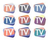 TV Logo Design Set Royalty Free Stock Photo