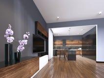 TV magazyn z wazą w pracownianym mieszkaniu z kuchnią Żywy izbowy współczesny styl ilustracji