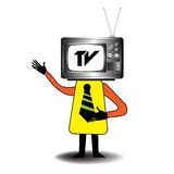 The TV man. Abstract colorful illustration with an  man having instead of his head a TV. TV addiction theme Royalty Free Stock Images