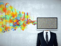 TV man with colorful scribble Stock Images