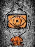 Tv man. Man with tv in his head illustration Stock Images