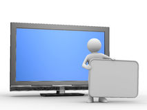 TV and man on white background. Isolated 3D image Royalty Free Stock Photos