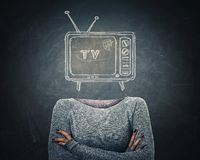 Tv manipulation stock photo