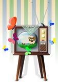 Tv med lammet Arkivbild