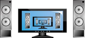 TV med ljudsignalsystemet Royaltyfri Bild