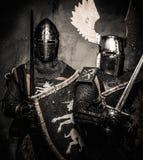 Två medeltida riddare Royaltyfria Bilder