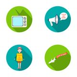 TV, megaphone, a man with a poster, an airplane with a banner.Advertising,set collection icons in flat style vector Stock Photo